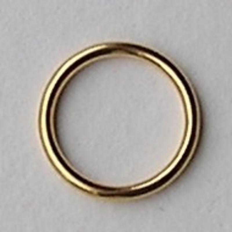 Dichte ring. Goudkleurig. Hoogwaardige kwaliteit 12mm. Per stuk voor.