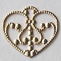 Hanger Hart. Plat Filligrain. Brass. 29x31mm. Goudkleurig.