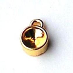 Kastje met een oog. 10x14mm. Goudkleurig. Voor SS39 steen.