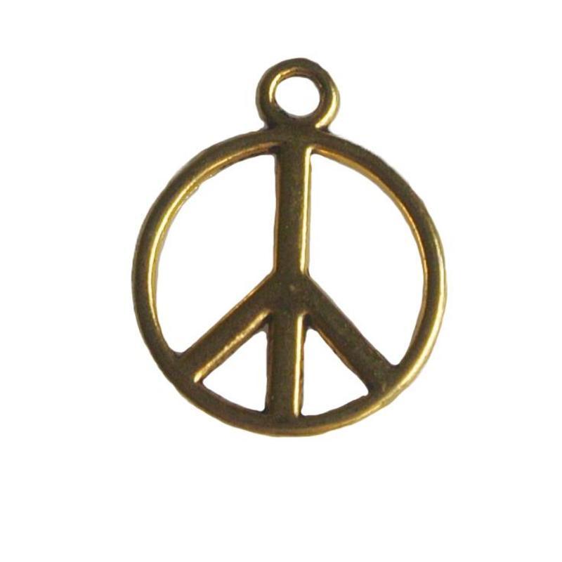 Bedel Peace. 15x17mm. Goudkleurig.