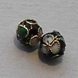 Cloisonnekraal Zwart. 5mm. Rond.