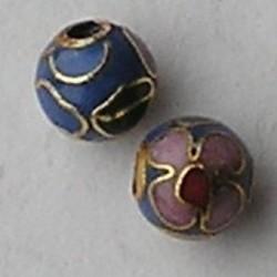 Cloisonnekraal Traditioneel. Blauw met roze bloemen. 6mm.