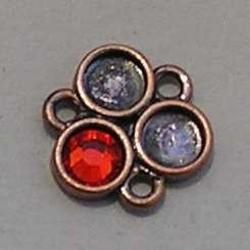 Ornament. 13mm. voor 3x ss20 plaksteen. (Rood Koper).