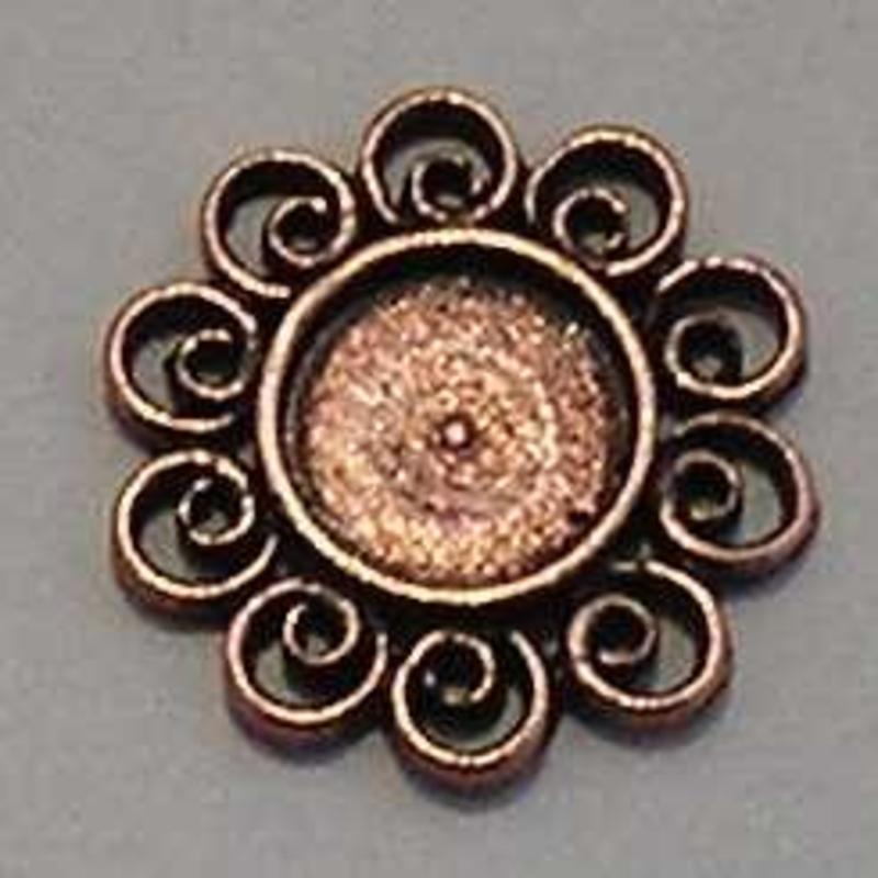 Ornament. 17mm. Rond. voor ss34. (Rood Koper).