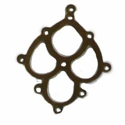 Bronskleurig Hangertje 21x26mm voor 9 stuks 4mm kraaltjes
