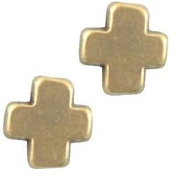 Metalen kraal kruis. 9x9mm. Bronskleurig.