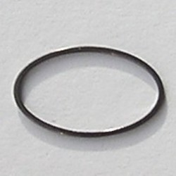 Gun metalkleurige Brass gladde ovale dichte ring. 16x26mm.