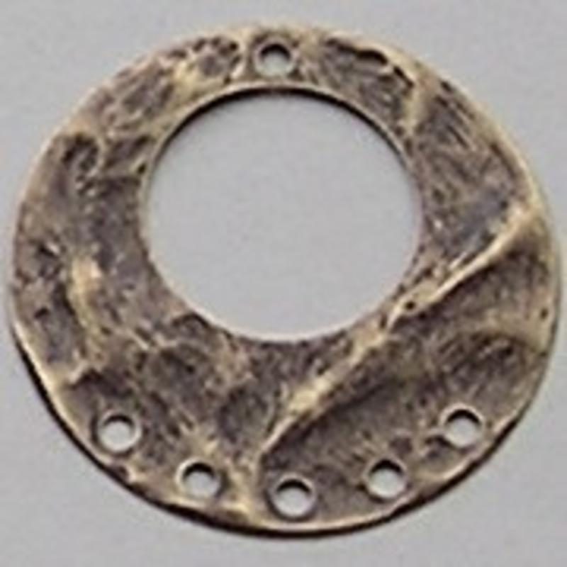 Bronskleurig Brass. Platte Hanger. 1+5 Gaats 40mm. (geschikt als oorhanger)