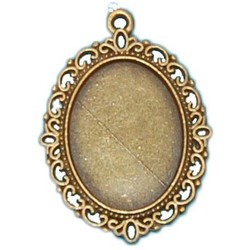 Filligrain Hanger. 28x40mm. Bronze. Suitable for cabochon 18x25.