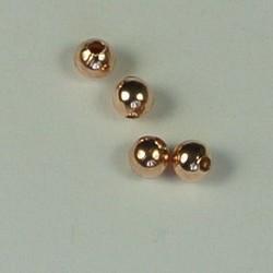 Rosegoud 23 karaats verguld Brass kraaltje. 3mm. Hoogwaardige kwaliteit.