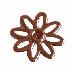 Metalen bloem Daisy. 17mm. Hoogw. Kwal. 23 karaats rose.