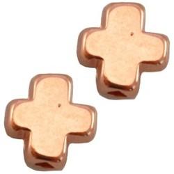 Metalen kraal kruis. 9x9mm. Rosekleurig