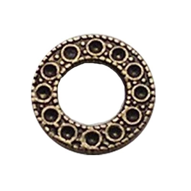 Bronskleurig Brass. Bewerkte platte ring. 14mm. voor 12 strass steentjes 1mm.