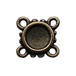 Bronskleurig Tussenstuk. 13x13mm. met 4 ogen voor 1x SS34 Plaksteen.
