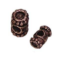 Metalen kraal Diabolo. 11mm. voor 4mm. plaksteen. Roodkoper