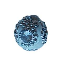 Kashmiribead. 20mm. Wit Zilver met strass.