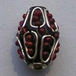 Kasmiri Bead. 20mm. Aqua/Rood/Zilver.