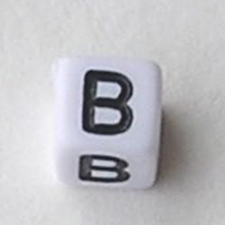 Letter Acrylkraal. Kubus. 6x6mm. Wit met zwarte letter B.