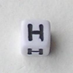 Letter Acrylkraal. Kubus. 6x6mm. Wit met zwarte letter H.