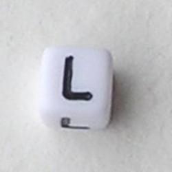 Letter Acrylkraal. Kubus. 6x6mm. Wit met zwarte letter L.