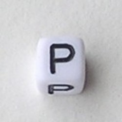Letter Acrylkraal. Kubus. 6x6mm. Wit met zwarte letter P.