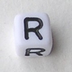 Letter Acrylkraal. Kubus. 6x6mm. Wit met zwarte letter R.