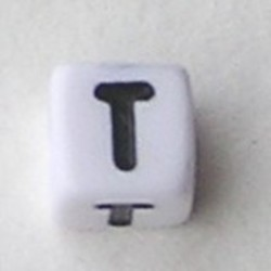 Letter Acrylkraal. Kubus. 6x6mm. Wit met zwarte letter T.