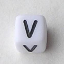 Letter Acrylkraal. Kubus. 6x6mm. Wit met zwarte letter V.