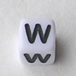 Letter Acrylkraal. Kubus. 6x6mm. Wit met zwarte letter W.
