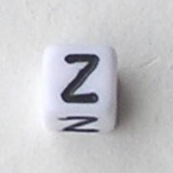 Letter Acrylkraal. Kubus. 6x6mm. Wit met zwarte letter Z.