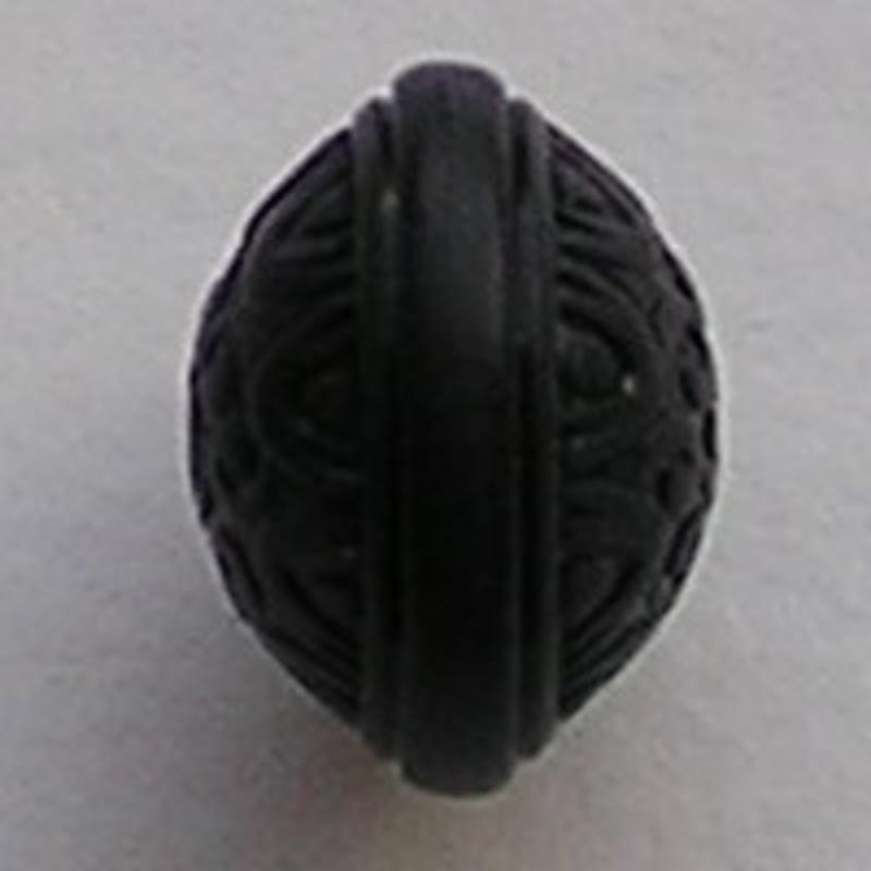 Acrylkraal. Bewerkte Rondelle. 15x20mm. Zwart.