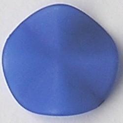 Matte Kunststofkraal. Waaiervormig rond.26mm. Blauw.
