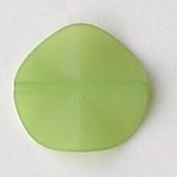 Matte Kunststofkraal. Waaiervormig rond.26mm. Groen.