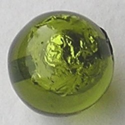 Resin Kraal. Olivine. 16mm. Met silverfoil.