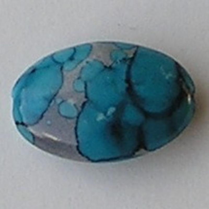 Acrylkraal. 18x28mm. Ovaal. Zilver/Blauw.