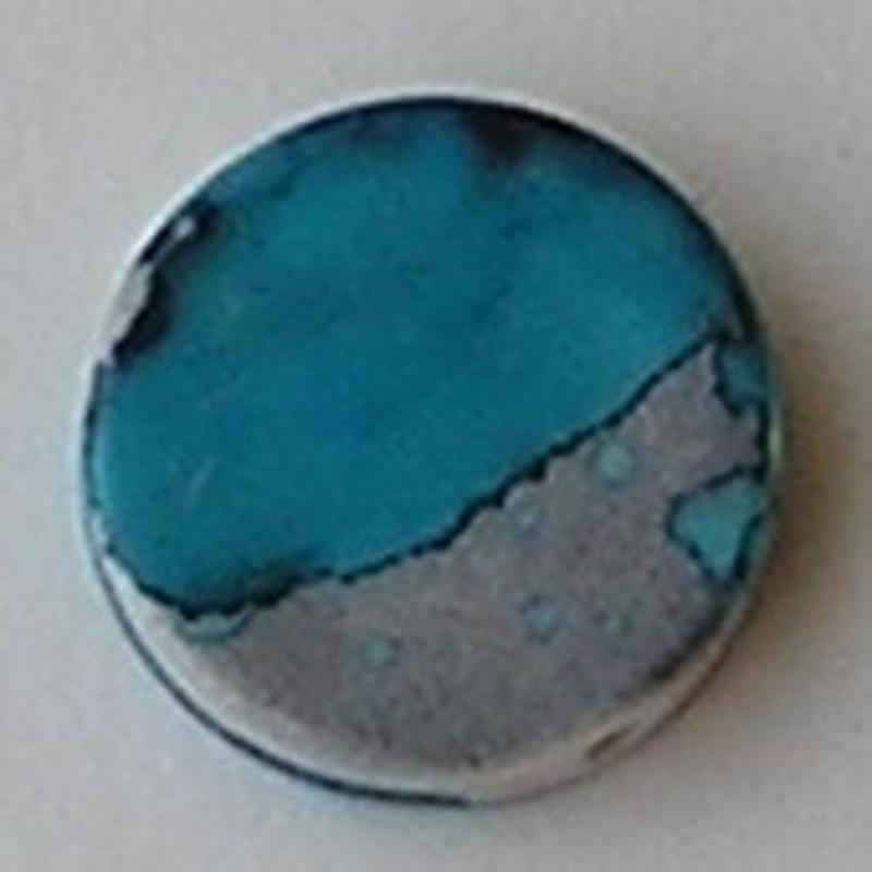 Acrylkraal. 18mm. Rond-Plat. Zilver-Blauw.