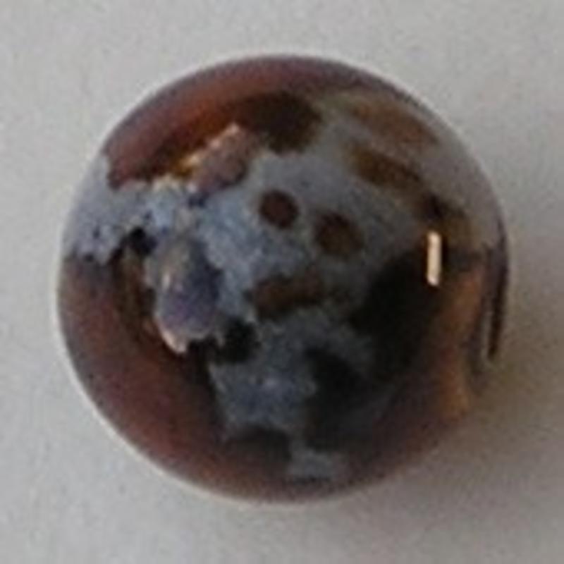 Acrylkraal. 12mm. Rond. Zilver/Bruin.