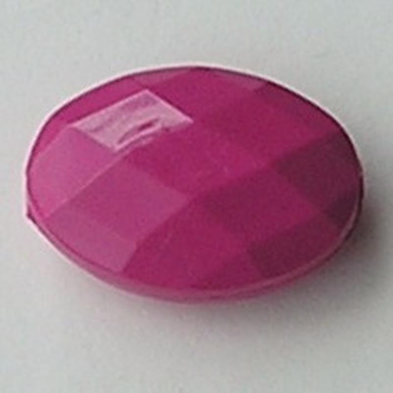 Acrylkraal Opaque Ovaal Facet. 27x37mm. Fuchsia.