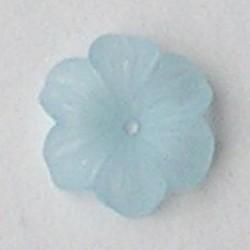Lucite flower. 12mm. Rijggat in het midden. Kunststof bloemetje Light Aqua mat.
