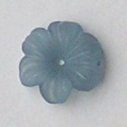 Lucite flower. 12mm. Rijggat in het midden. Kunststof bloemetje Light Petrol mat.