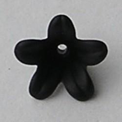 Lucite flower. 7x12mm. Kunststof bloemetje zwart mat.