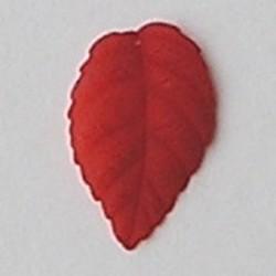Lucite. 18x28mm. Rijggat bovenin. Kunststof blaadje Rood mat.