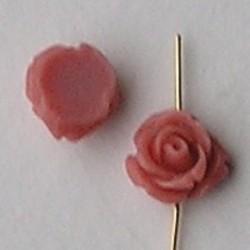 Acryl Roosje. Kraal. 11mm. Vintage Rose Per stuk voor.