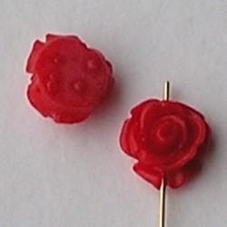 Acryl Roosje. Kraal. 11mm. Red. Per stuk voor.