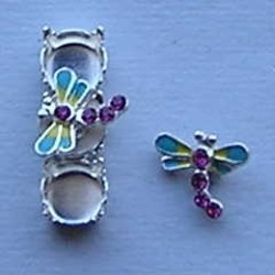 Bling Thing. Libelle. 10x12mm. Aqua Geel met Fuchsia Strass.