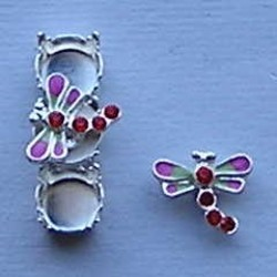 Bling Thing. Libelle. 10x12mm. Fuchsia Groen met Siam Strass.