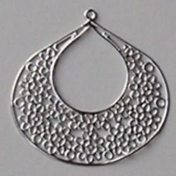 Filligrain Hanger. 53x53mm. Hoogwaardige kwaliteit. Zilverkleurig.
