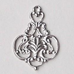 Filligrain Hangertje. (hoort bij art. 36050) Zilverkleurig. Brass. 24x34mm. Per stuk.