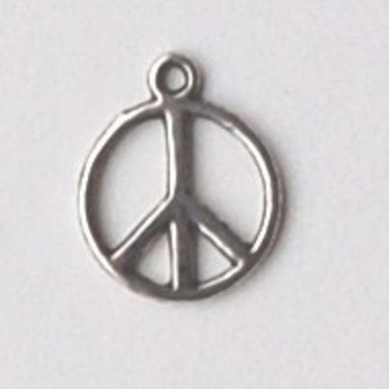 Bedel Peace. 14x17mm. Oudzilverkleurig.