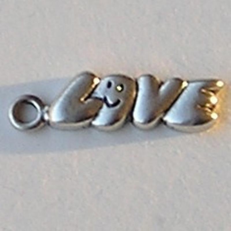 Bedel . Tekst Love met smile. 7x27mm. Oudzilverkleurig.